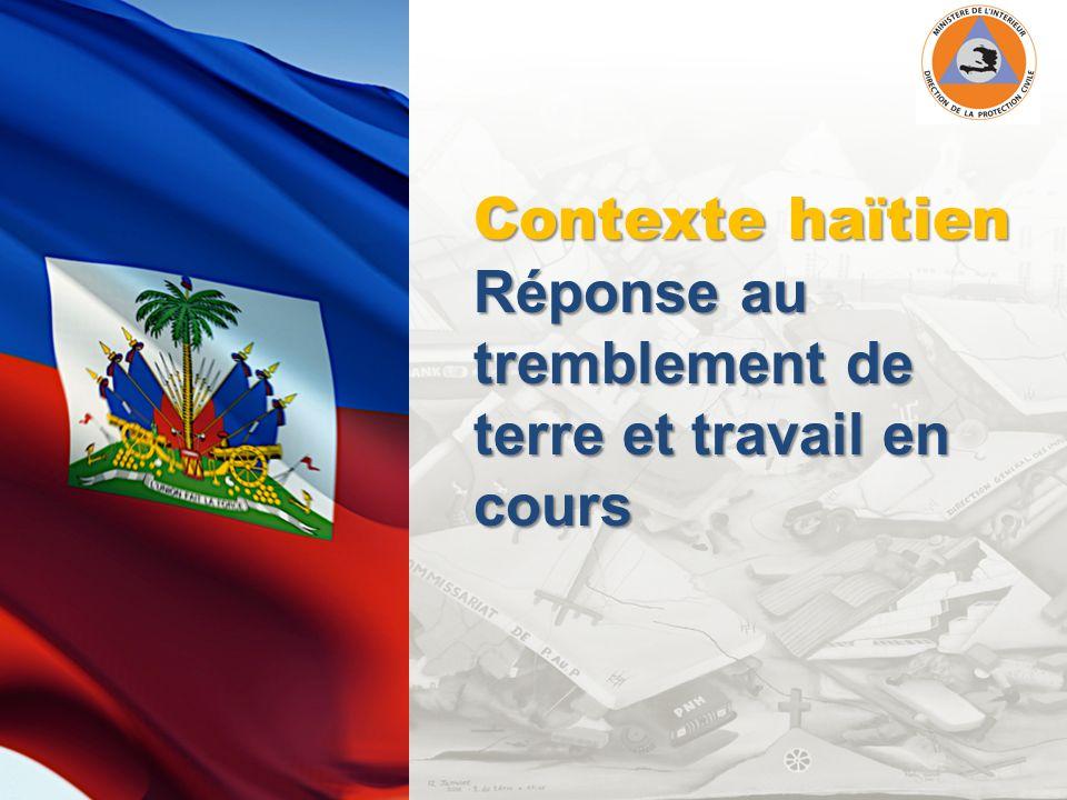 Contexte haïtien Réponse au tremblement de terre et travail en cours