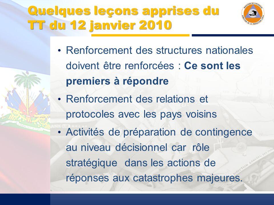 Quelques leçons apprises du TT du 12 janvier 2010 Renforcement des structures nationales doivent être renforcées : Ce sont les premiers à répondre Renforcement des relations et protocoles avec les pays voisins Activités de préparation de contingence au niveau décisionnel car rôle stratégique dans les actions de réponses aux catastrophes majeures.