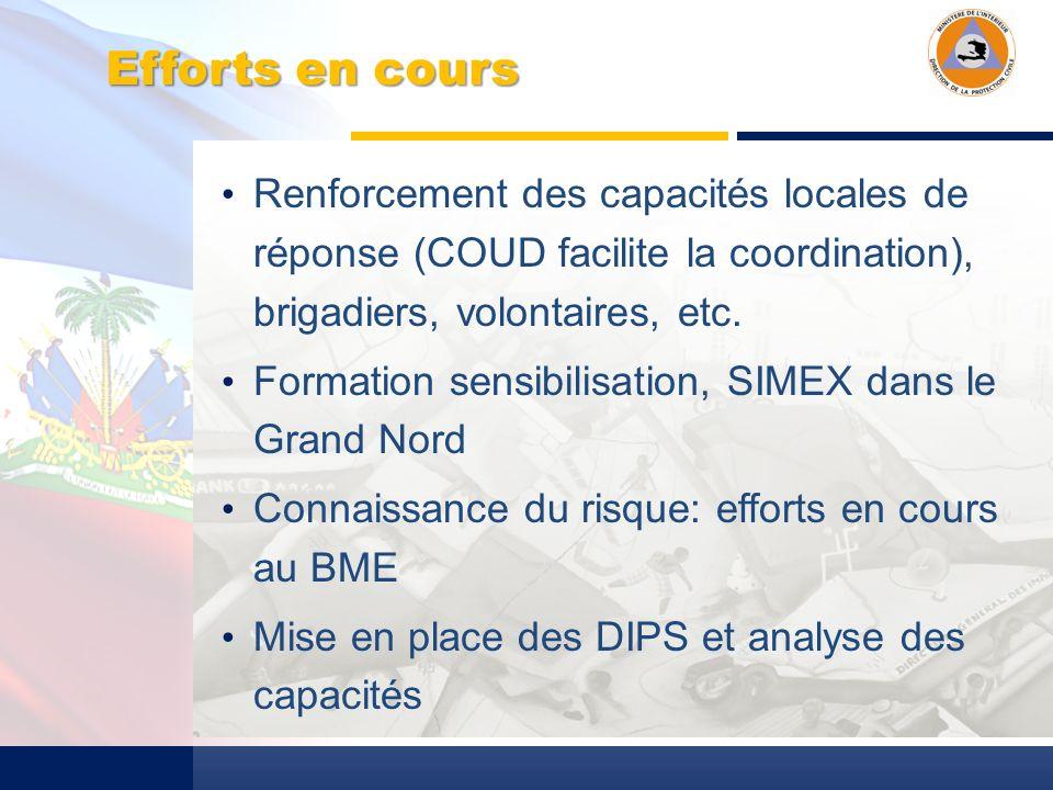Efforts en cours Renforcement des capacités locales de réponse (COUD facilite la coordination), brigadiers, volontaires, etc.