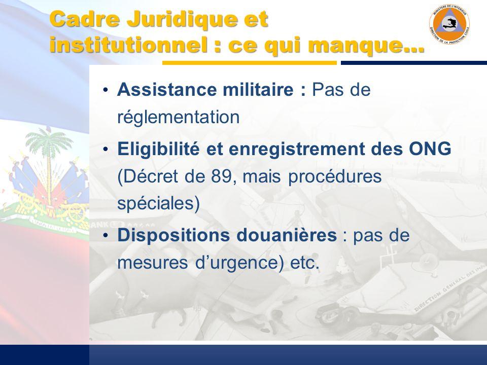 Cadre Juridique et institutionnel : ce qui manque… Assistance militaire : Pas de réglementation Eligibilité et enregistrement des ONG (Décret de 89, mais procédures spéciales) Dispositions douanières : pas de mesures durgence) etc.