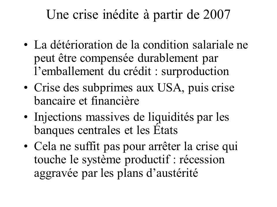 Une crise inédite à partir de 2007 La détérioration de la condition salariale ne peut être compensée durablement par lemballement du crédit : surprodu