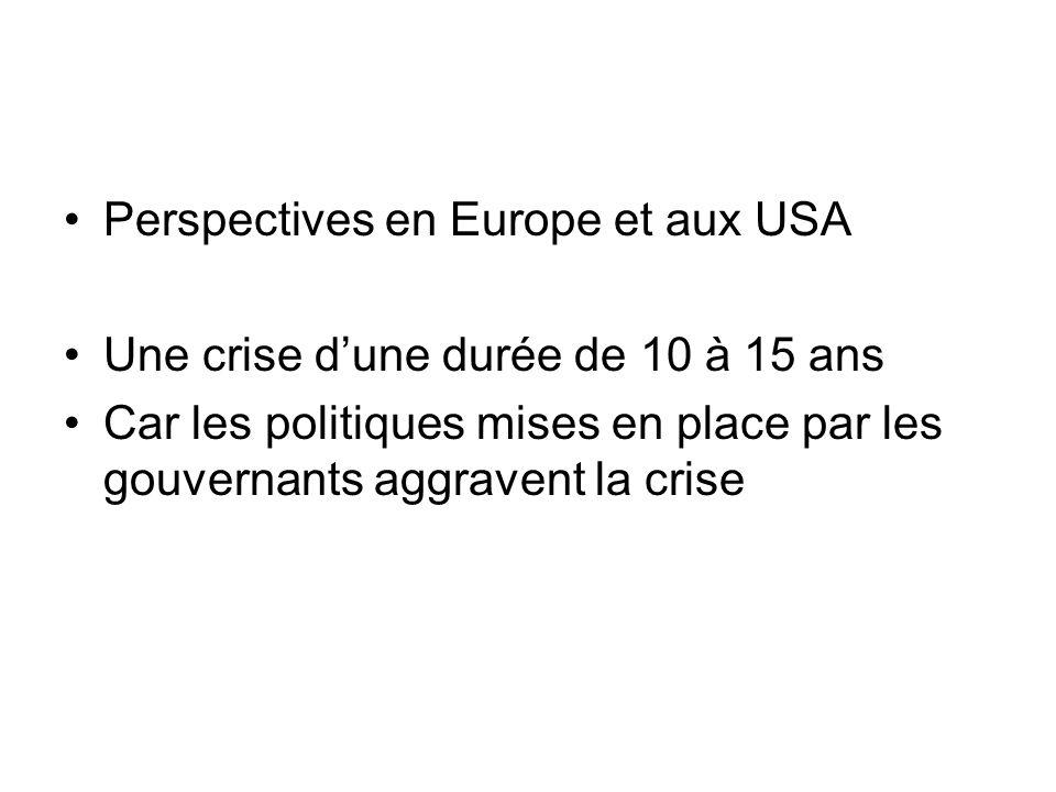 Perspectives en Europe et aux USA Une crise dune durée de 10 à 15 ans Car les politiques mises en place par les gouvernants aggravent la crise