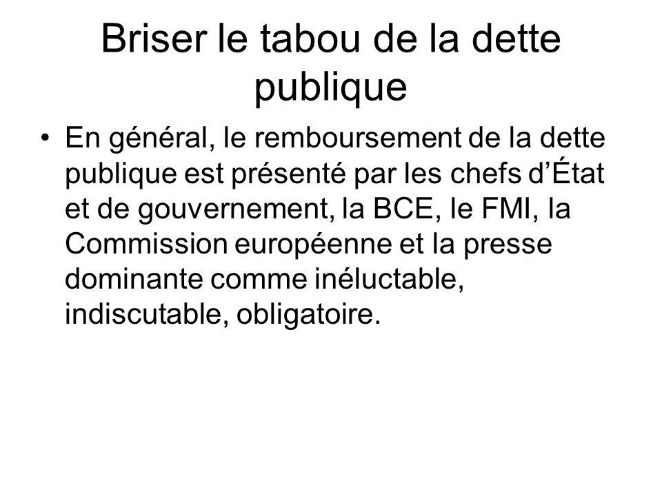 Briser le tabou de la dette publique En général, le remboursement de la dette publique est présenté par les chefs dÉtat et de gouvernement, la BCE, le FMI, la Commission européenne et la presse dominante comme inéluctable, indiscutable, obligatoire.