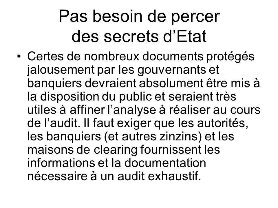 Pas besoin de percer des secrets dEtat Certes de nombreux documents protégés jalousement par les gouvernants et banquiers devraient absolument être mi