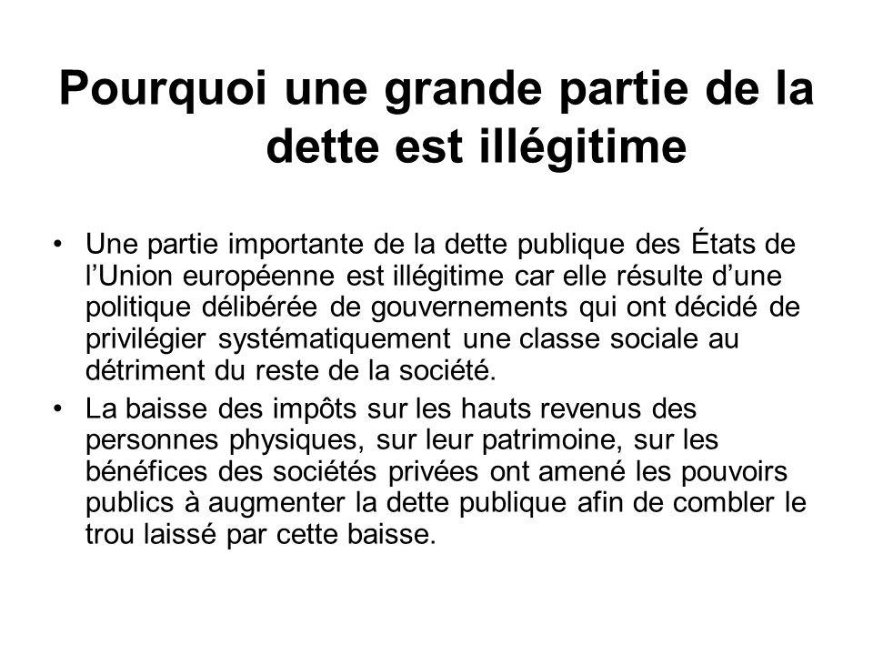Pourquoi une grande partie de la dette est illégitime Une partie importante de la dette publique des États de lUnion européenne est illégitime car ell