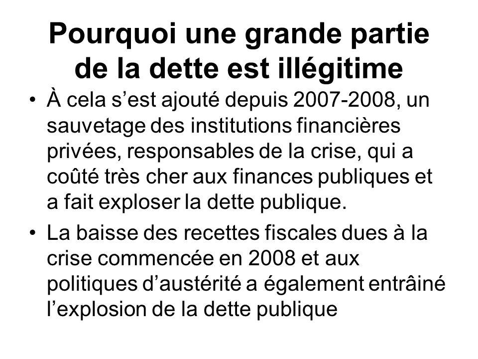 Pourquoi une grande partie de la dette est illégitime À cela sest ajouté depuis 2007-2008, un sauvetage des institutions financières privées, responsa