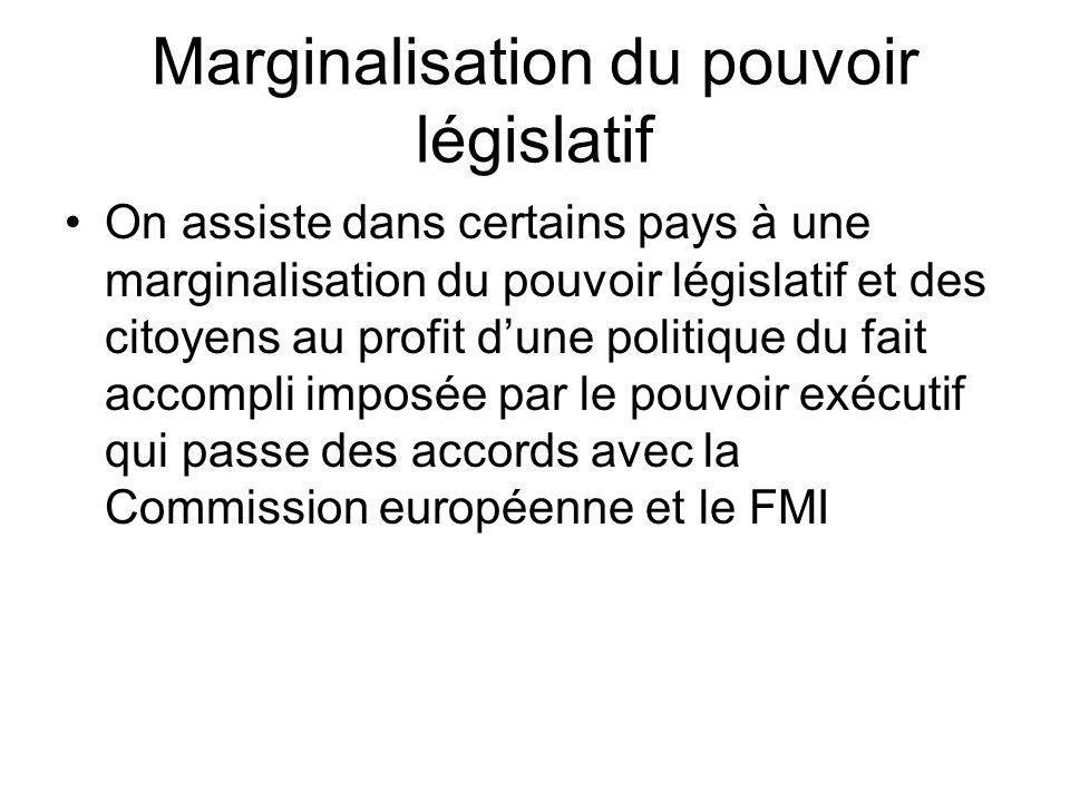 Marginalisation du pouvoir législatif On assiste dans certains pays à une marginalisation du pouvoir législatif et des citoyens au profit dune politique du fait accompli imposée par le pouvoir exécutif qui passe des accords avec la Commission européenne et le FMI