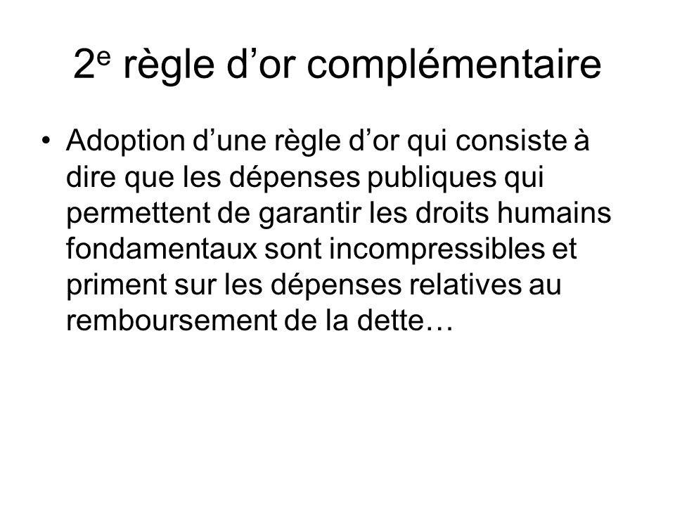 2 e règle dor complémentaire Adoption dune règle dor qui consiste à dire que les dépenses publiques qui permettent de garantir les droits humains fondamentaux sont incompressibles et priment sur les dépenses relatives au remboursement de la dette…