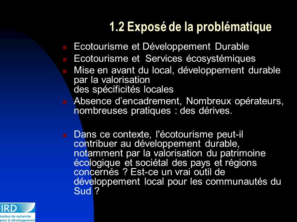 1.2 Exposé de la problématique Ecotourisme et Développement Durable Ecotourisme et Services écosystémiques Mise en avant du local, développement durab