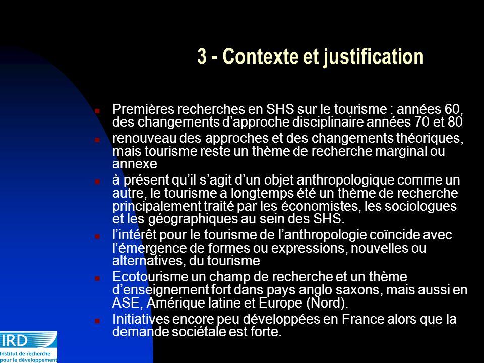 3 - Contexte et justification Premières recherches en SHS sur le tourisme : années 60, des changements dapproche disciplinaire années 70 et 80 renouve