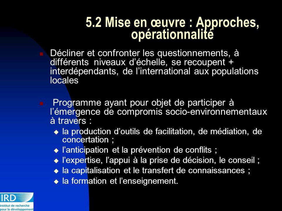 5.2 Mise en œuvre : Approches, opérationnalité Décliner et confronter les questionnements, à différents niveaux déchelle, se recoupent + interdépendan