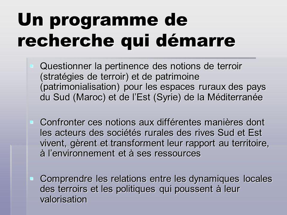 Un programme de recherche qui démarre Questionner la pertinence des notions de terroir (stratégies de terroir) et de patrimoine (patrimonialisation) p