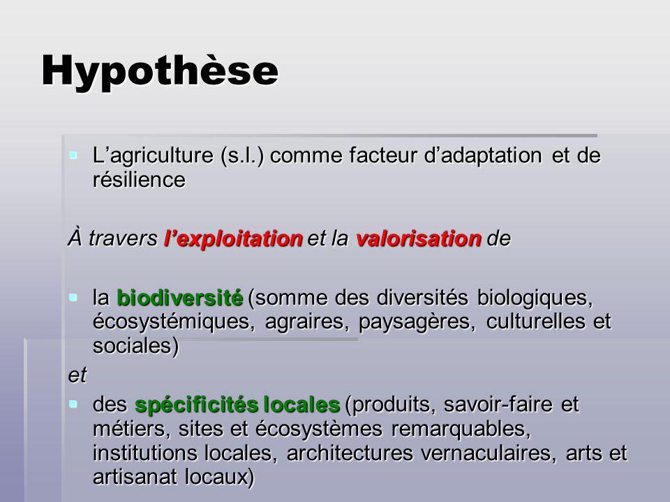Hypothèse Lagriculture (s.l.) comme facteur dadaptation et de résilience Lagriculture (s.l.) comme facteur dadaptation et de résilience À travers lexp