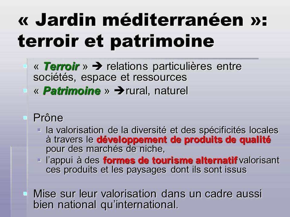 « Jardin méditerranéen »: terroir et patrimoine « Terroir » relations particulières entre sociétés, espace et ressources « Terroir » relations particu