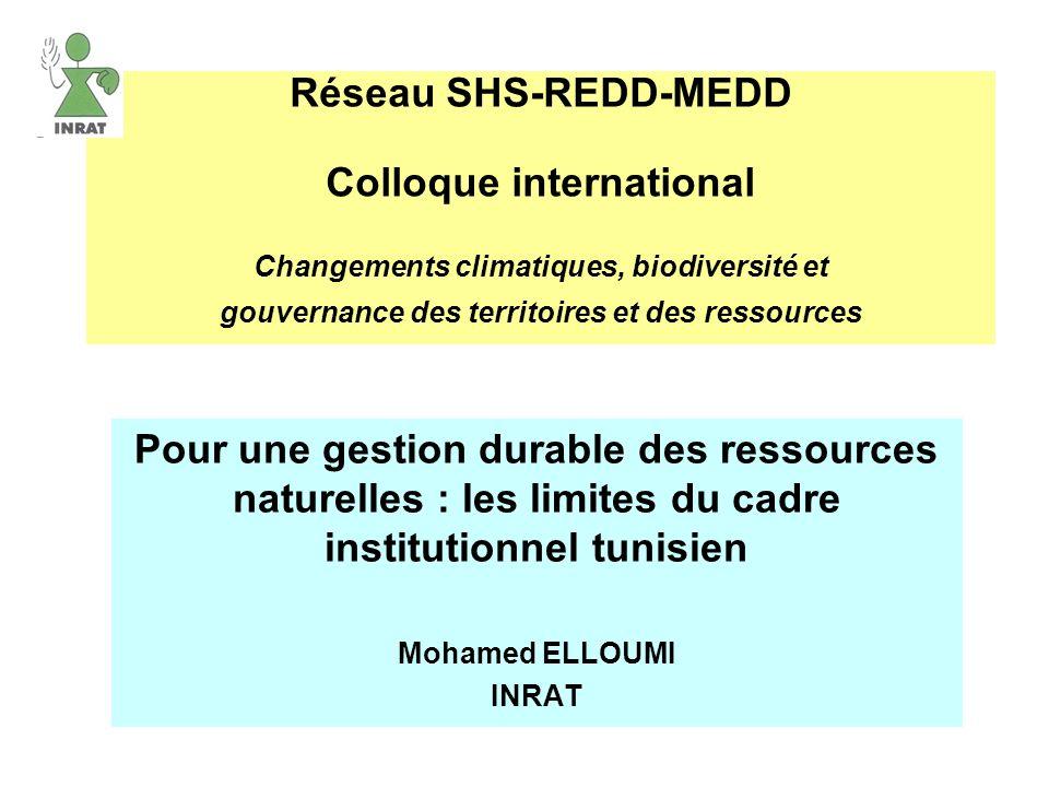 Réseau SHS-REDD-MEDD Colloque international Changements climatiques, biodiversité et gouvernance des territoires et des ressources Pour une gestion du