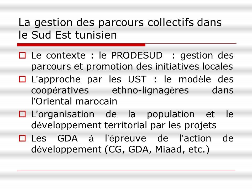 La gestion des parcours collectifs dans le Sud Est tunisien Le contexte : le PRODESUD : gestion des parcours et promotion des initiatives locales L ap