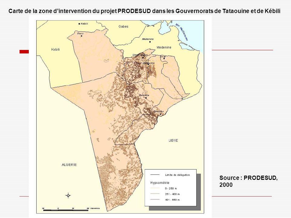 Carte de la zone dintervention du projet PRODESUD dans les Gouvernorats de Tataouine et de Kébili Source : PRODESUD, 2000