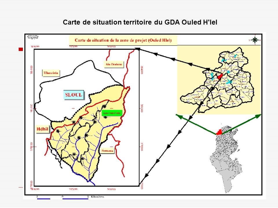 Carte de situation territoire du GDA Ouled H'lel