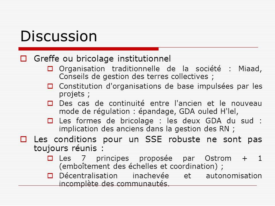 Discussion Greffe ou bricolage institutionnel Organisation traditionnelle de la société : Miaad, Conseils de gestion des terres collectives ; Constitu