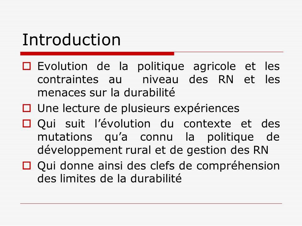 Introduction Evolution de la politique agricole et les contraintes au niveau des RN et les menaces sur la durabilité Une lecture de plusieurs expérien