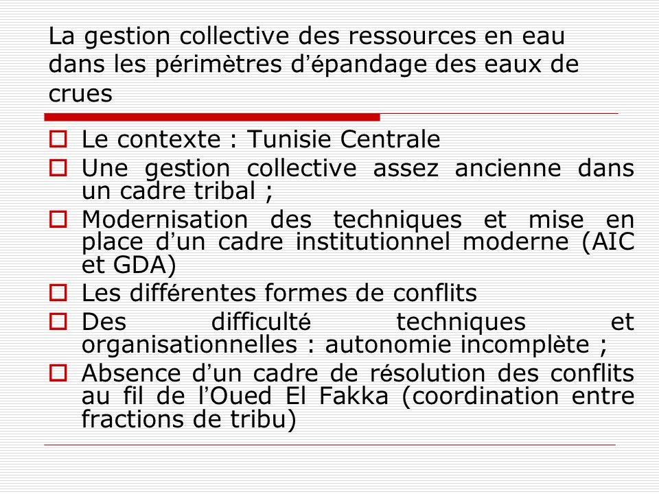 La gestion collective des ressources en eau dans les p é rim è tres d é pandage des eaux de crues Le contexte : Tunisie Centrale Une gestion collectiv