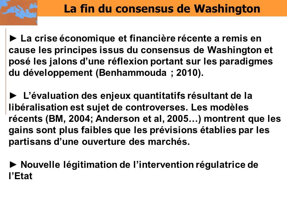 La fin du consensus de Washington La crise économique et financière récente a remis en cause les principes issus du consensus de Washington et posé le