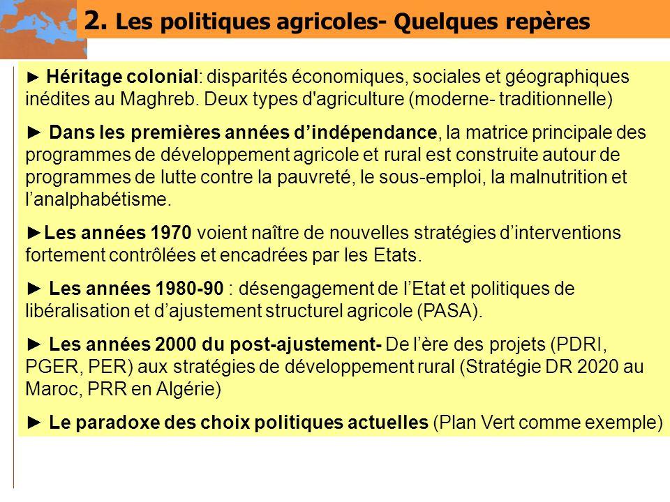 2. Les politiques agricoles- Quelques repères Héritage colonial: disparités économiques, sociales et géographiques inédites au Maghreb. Deux types d'a