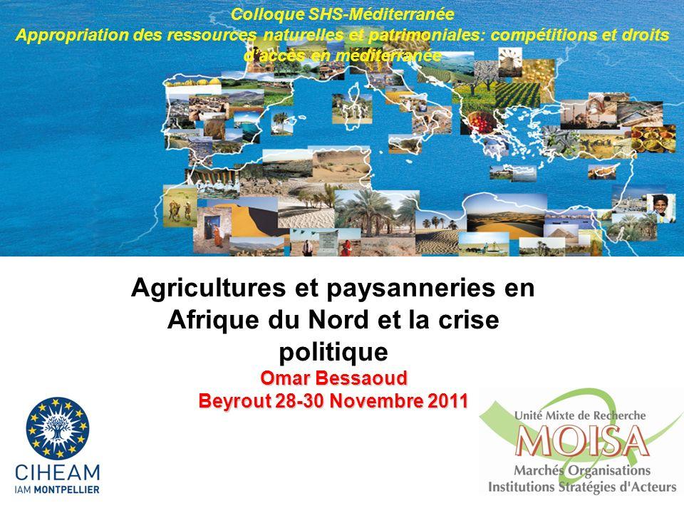 1 Agricultures et paysanneries en Afrique du Nord et la crise politique Omar Bessaoud Beyrout28-30 Novembre 2011 Beyrout 28-30 Novembre 2011 Colloque