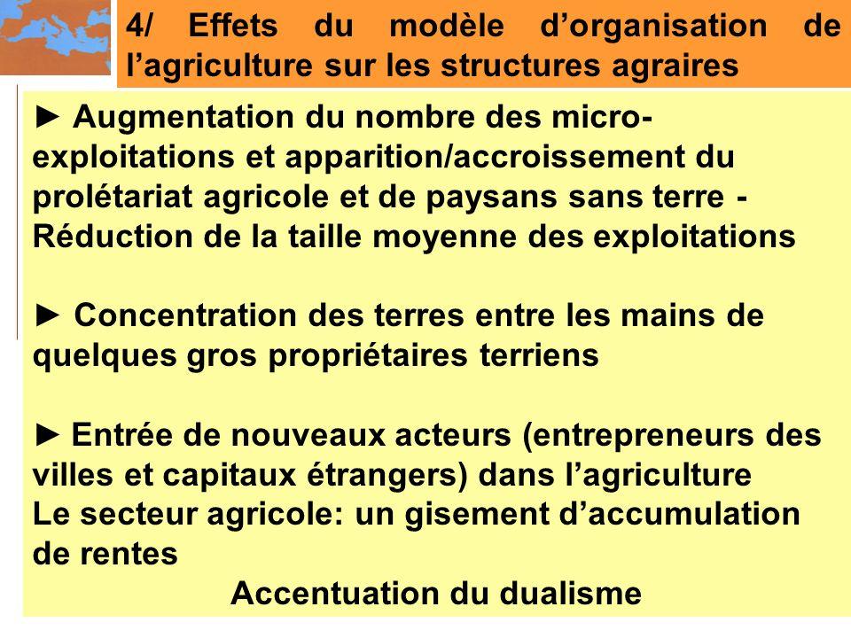 4/ Effets du modèle dorganisation de lagriculture sur les structures agraires Augmentation du nombre des micro- exploitations et apparition/accroissem