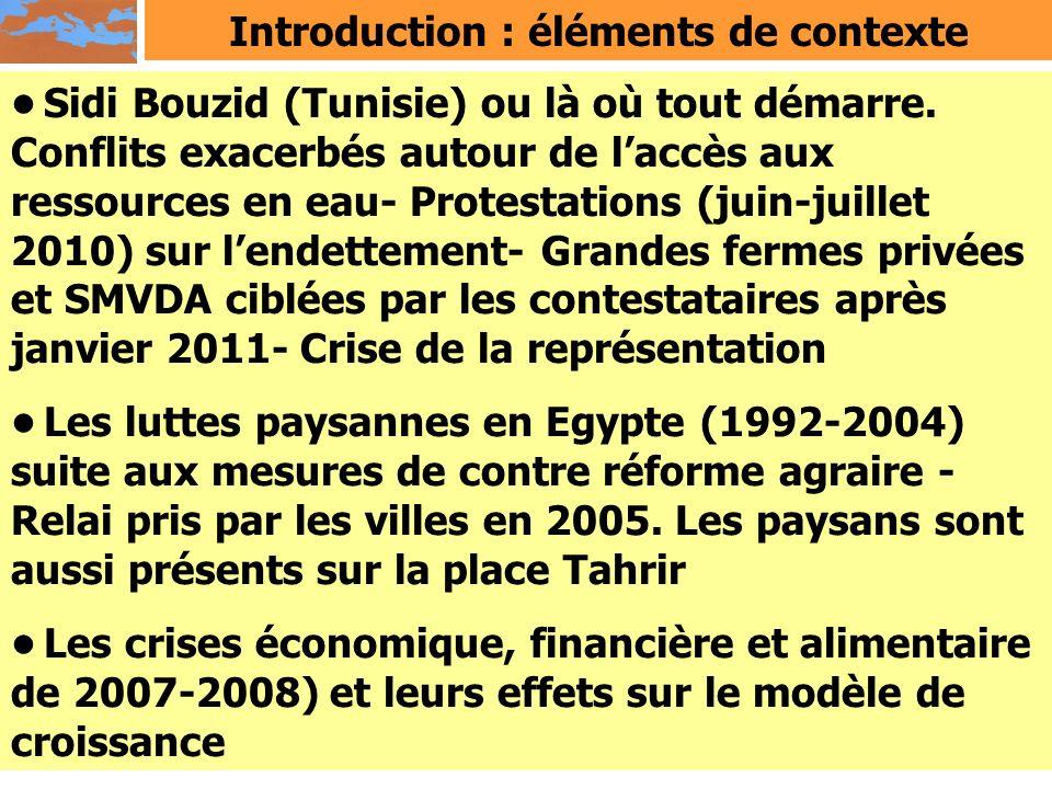 Introduction : éléments de contexte Sidi Bouzid (Tunisie) ou là où tout démarre. Conflits exacerbés autour de laccès aux ressources en eau- Protestati