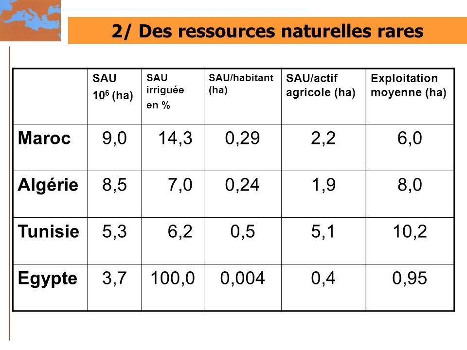 2/ Des ressources naturelles rares SAU 10 6 (ha) SAU irriguée en % SAU/habitant (ha) SAU/actif agricole (ha) Exploitation moyenne (ha) Maroc9,0 14,30,