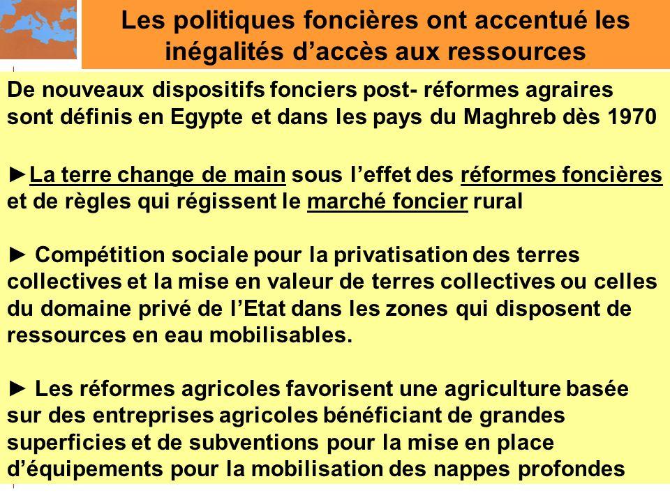 Les politiques foncières ont accentué les inégalités daccès aux ressources De nouveaux dispositifs fonciers post- réformes agraires sont définis en Eg