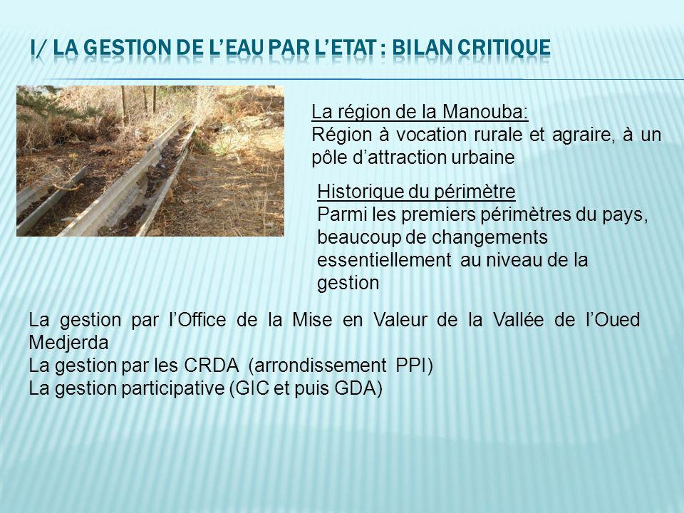La région de la Manouba: Région à vocation rurale et agraire, à un pôle dattraction urbaine Historique du périmètre Parmi les premiers périmètres du p
