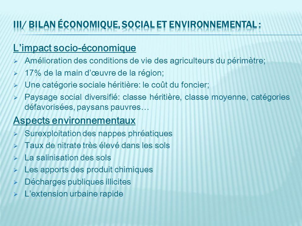 Limpact socio-économique Amélioration des conditions de vie des agriculteurs du périmètre; 17% de la main dœuvre de la région; Une catégorie sociale h