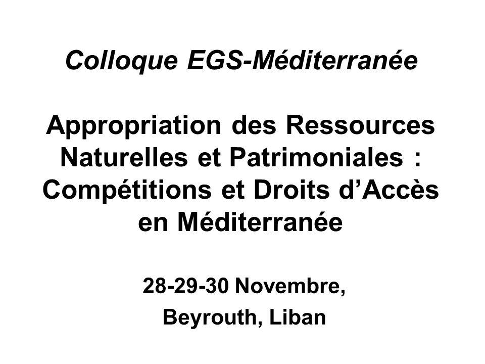 Colloque EGS-Méditerranée Appropriation des Ressources Naturelles et Patrimoniales : Compétitions et Droits dAccès en Méditerranée 28-29-30 Novembre,