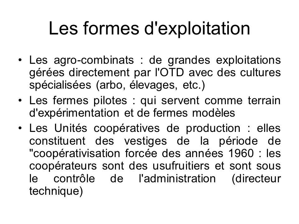 Les formes d'exploitation Les agro-combinats : de grandes exploitations gérées directement par l'OTD avec des cultures spécialisées (arbo, élevages, e