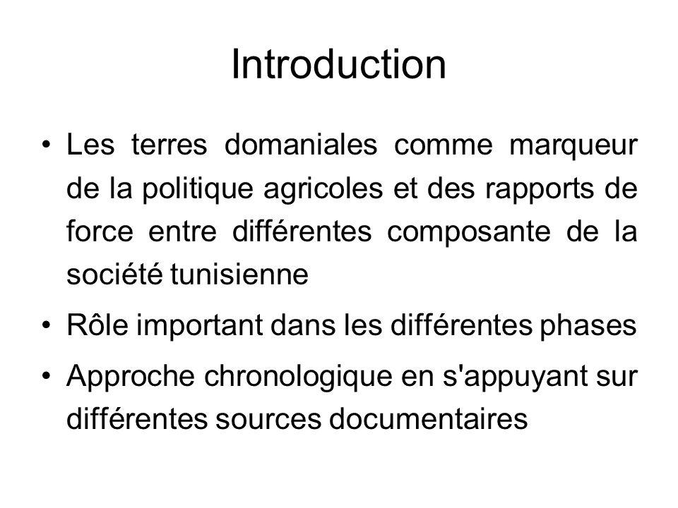 Introduction Les terres domaniales comme marqueur de la politique agricoles et des rapports de force entre différentes composante de la société tunisi