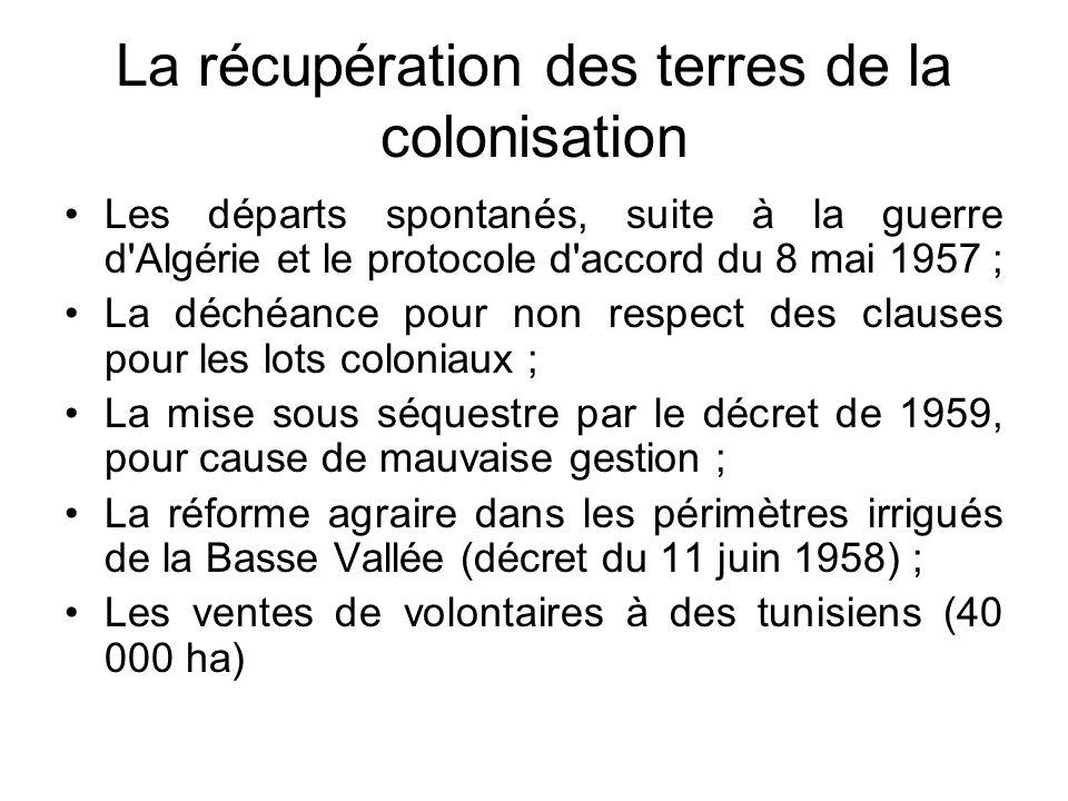 La récupération des terres de la colonisation Les départs spontanés, suite à la guerre d'Algérie et le protocole d'accord du 8 mai 1957 ; La déchéance