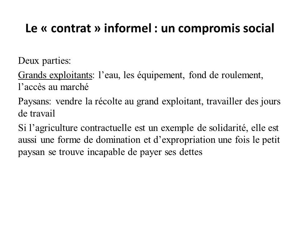 Le « contrat » informel : un compromis social Deux parties: Grands exploitants: leau, les équipement, fond de roulement, laccès au marché Paysans: ven