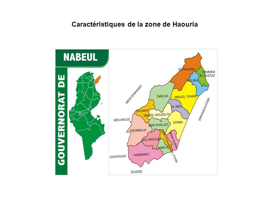 La zone de létude est située au Nord du golf de Tunis, cest une zone côtière et appartient entièrement à la délégation de Haouria.
