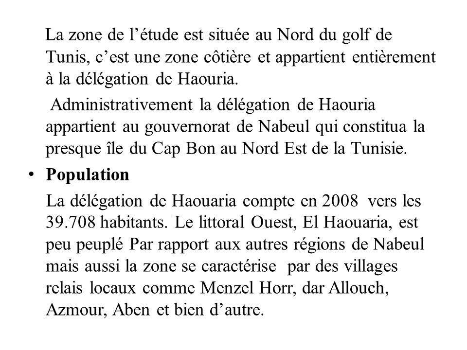 La zone de létude est située au Nord du golf de Tunis, cest une zone côtière et appartient entièrement à la délégation de Haouria. Administrativement
