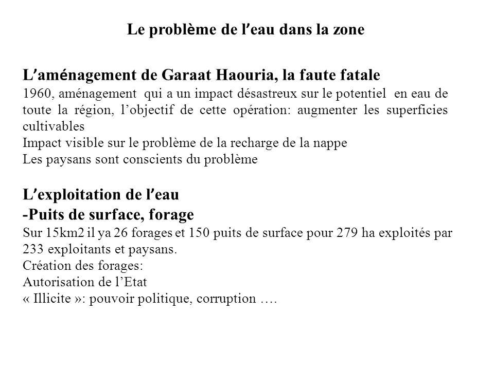 Le probl è me de l eau dans la zone L am é nagement de Garaat Haouria, la faute fatale 1960, aménagement qui a un impact désastreux sur le potentiel e