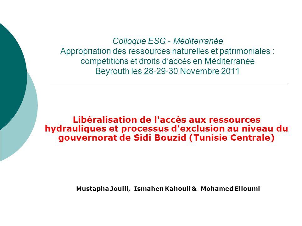 Objectif La politique hydraulique poursuivie en Tunisie depuis les premières années de l Indépendance a conduit à l émergence d une agriculture irriguée sur des exploitations familiales qui ont bénéficié de la politique d encouragement de l Etat depuis la mise en place de la politique de libéralisation et notamment de la libéralisation de l accès aux ressources profondes on assiste à la mise en place d un processus d exclusion la région de Sidi Bouzid: Cette politique fait partie d une orientation économique libérale qui a introduit un processus de différenciation-exclusion au sein de l agriculture tunisienne et a affaibli l agriculture familiale de manière générale.