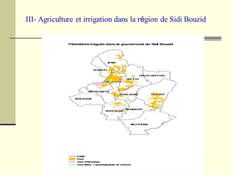 III- Agriculture et irrigation dans la r é gion de Sidi Bouzid