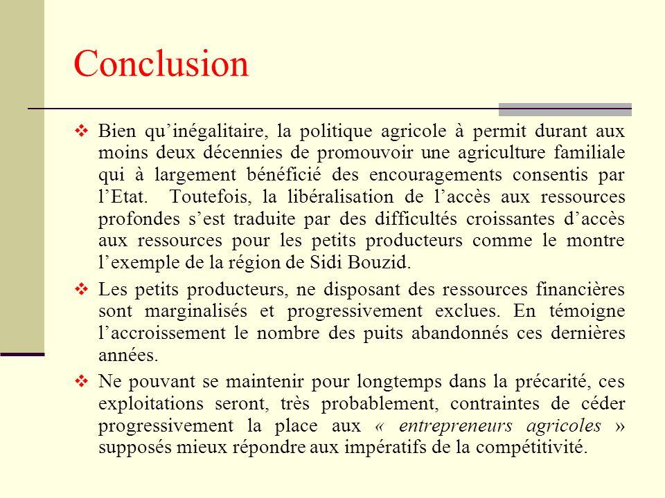 Conclusion Bien quinégalitaire, la politique agricole à permit durant aux moins deux décennies de promouvoir une agriculture familiale qui à largement bénéficié des encouragements consentis par lEtat.