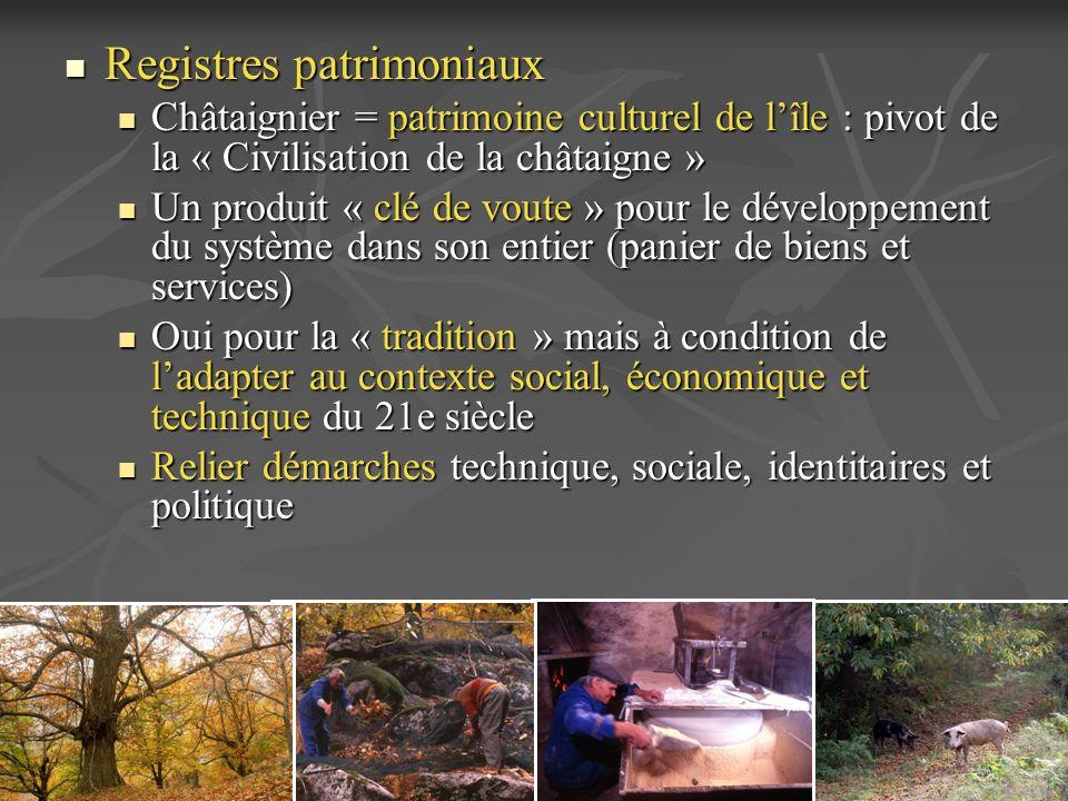 Registres patrimoniaux Registres patrimoniaux Châtaignier = patrimoine culturel de lîle : pivot de la « Civilisation de la châtaigne » Châtaignier = p