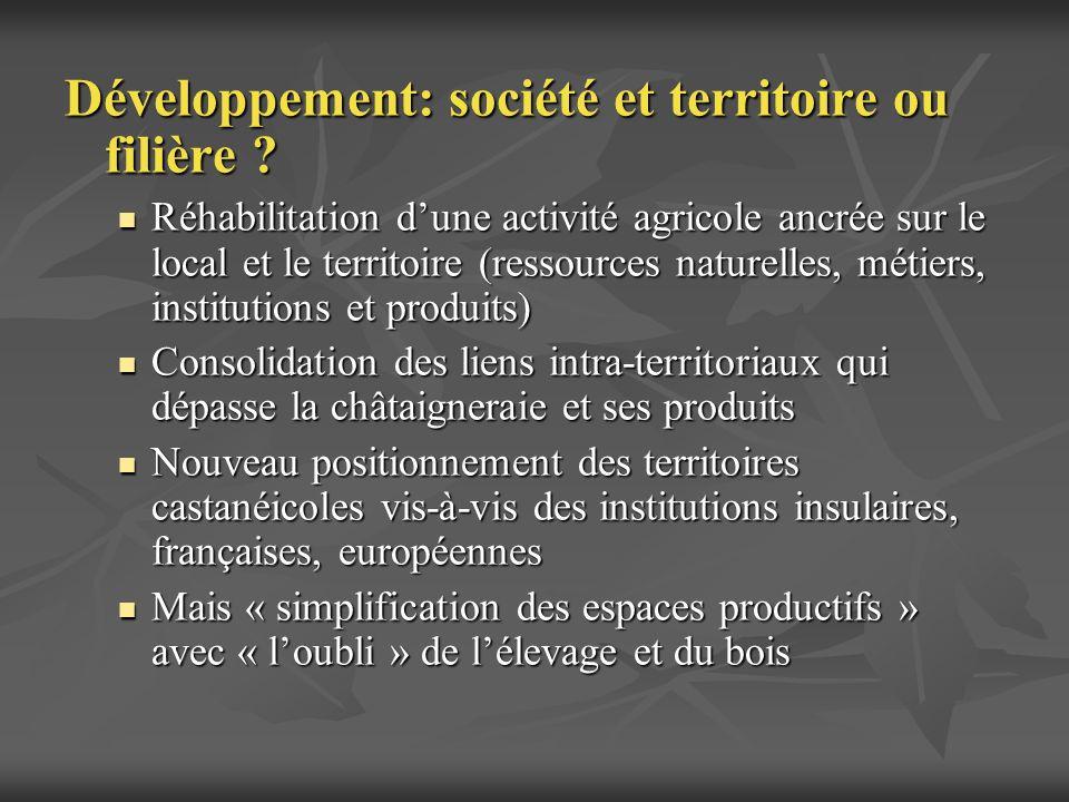 Développement: société et territoire ou filière ? Réhabilitation dune activité agricole ancrée sur le local et le territoire (ressources naturelles, m