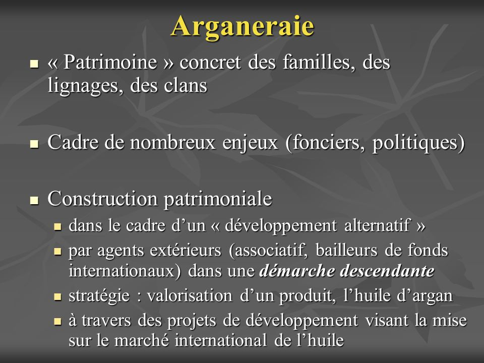 Départ: Une mosaïque de patrimoines locaux avec leurs titulaires Départ: Une mosaïque de patrimoines locaux avec leurs titulaires Construction patrimoniale (1) émergence dun nouvel objet patrimonial unifié (larganeraie, la châtaigneraie) et (2) élargissement du périmètre social des titulaires Construction patrimoniale (1) émergence dun nouvel objet patrimonial unifié (larganeraie, la châtaigneraie) et (2) élargissement du périmètre social des titulaires Les nouvelles identités patrimoniales, les produits qualifiés et les titulaires ne restent pas nécessairement associés à lexistant: peuvent participer à la dissociation entre patrimoine, réalité, bénéficiaires Les nouvelles identités patrimoniales, les produits qualifiés et les titulaires ne restent pas nécessairement associés à lexistant: peuvent participer à la dissociation entre patrimoine, réalité, bénéficiaires La construction patrimoniale: une rupture inévitable.