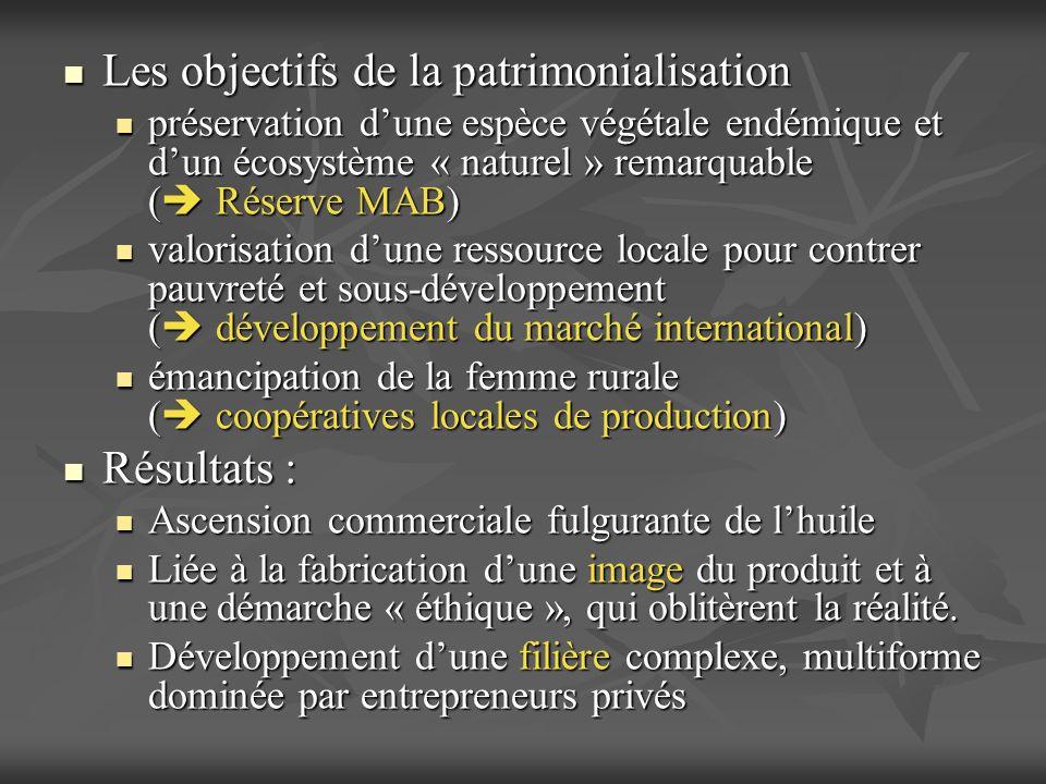 Les objectifs de la patrimonialisation Les objectifs de la patrimonialisation préservation dune espèce végétale endémique et dun écosystème « naturel