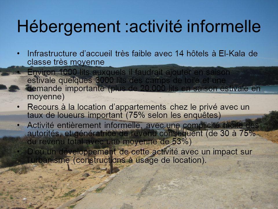Hébergement :activité informelle Infrastructure daccueil très faible avec 14 hôtels à El-Kala de classe très moyenne Environ 1000 lits auxquels il fau
